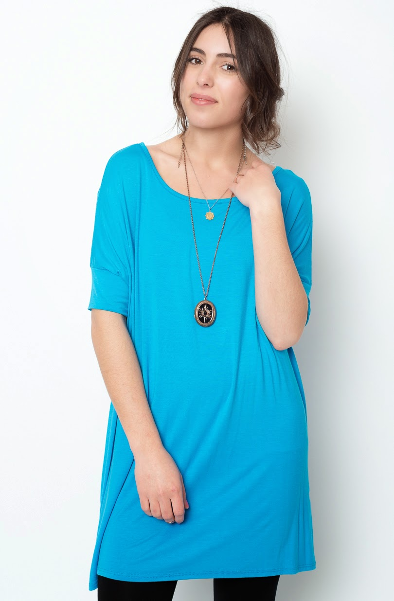 Buy online short sleeve  turquoise  ballet sleeve tunic for women