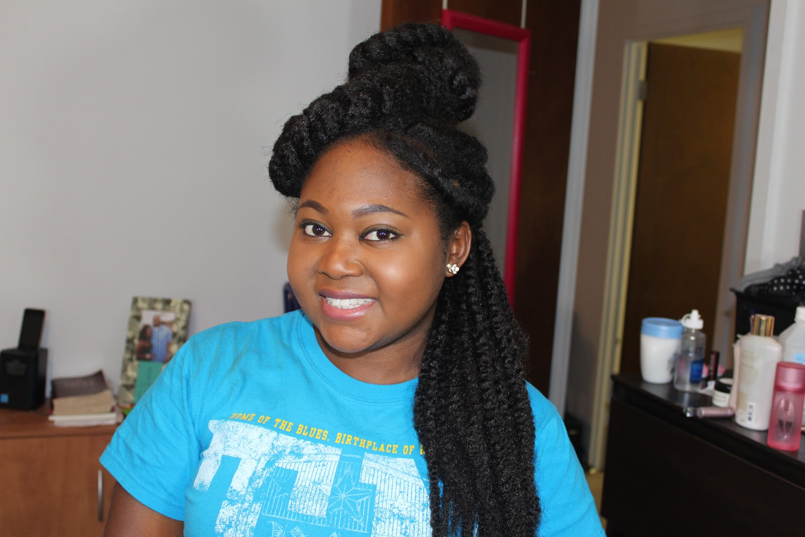 Natural Hair: Caribbean Queen Bun & Twists Up Do