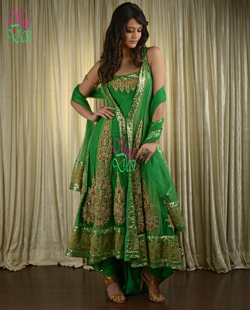 Green Anarkali & A Line Frocks with Churidar Pajama