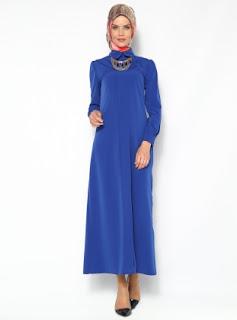 Dress muslim warna polos biru