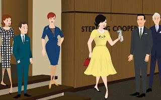 The office gang at Sterling Cooper Mad Men
