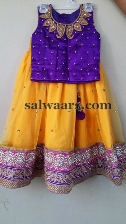Yellow Lehenga with Maggam Work Blouse