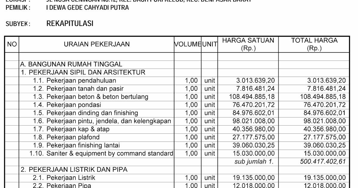 Contoh Perhitungan RAB Rumah Tinggal Tipe 180/300 M2  TSG