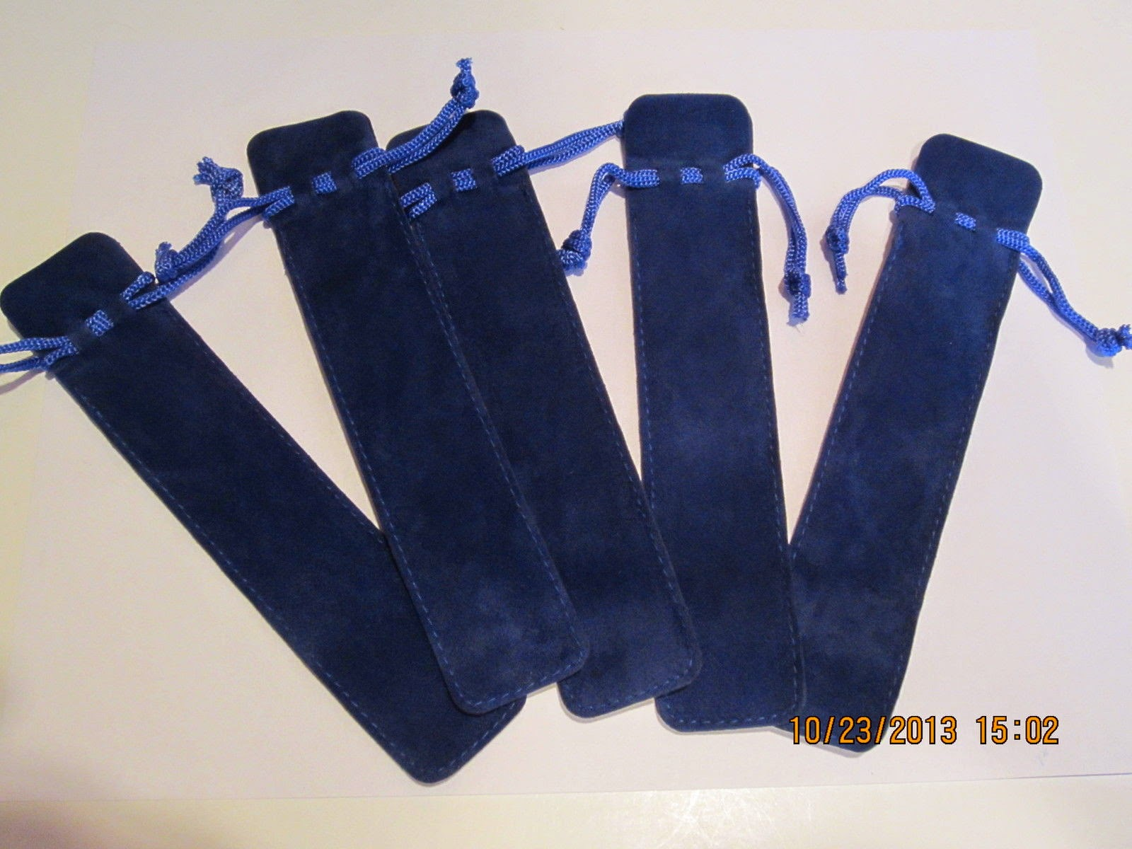 "5 LUXURY VELOUR DUAL SIDED ROYAL BLUE PEN DRAW STRING POUCHES 1 1/2""X 6 3/4"""