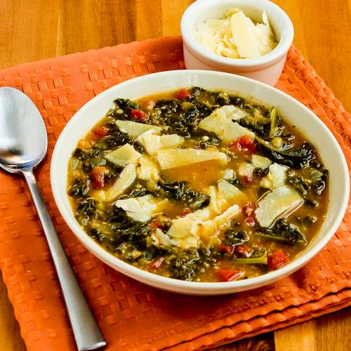 Slow Cooker Cannellini Bean and Kale Soup with Parmesan
