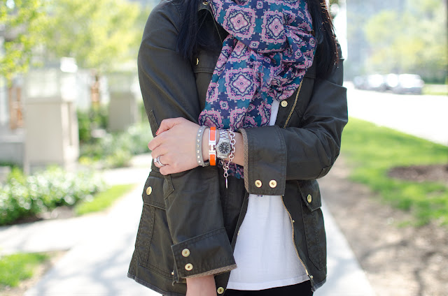 J.Crew Downtown Field Jacket, bright blue heels, patterned scarf, Louis Vuitton Neverfull, stacked bracelets