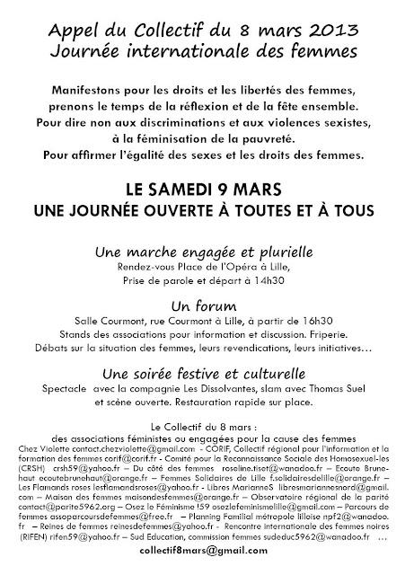 Programme Journée internationales des femmes 2013 à Lille