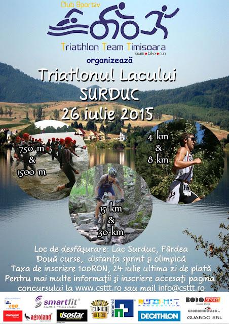 Triatlonul Lacului Surduc - provocare verii pentru locuitorii zonei de vest a țării