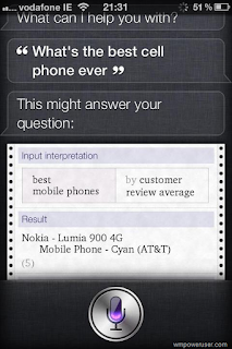 Apple iOS voice assistant Siri says Lumia 900 is 'best cell phone' based on Wolfram Alpha search result