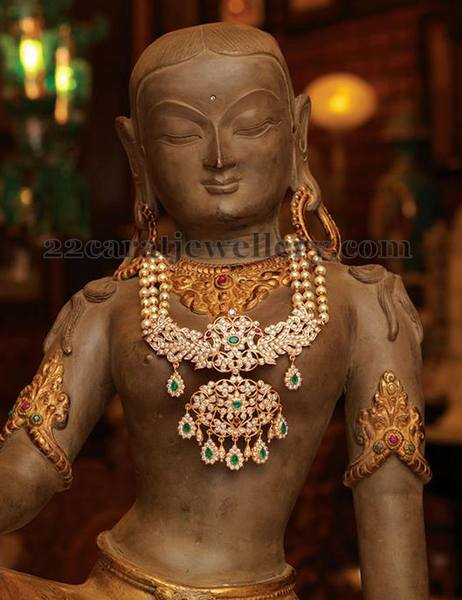 Rani Haram with Huge Diamond Pendant