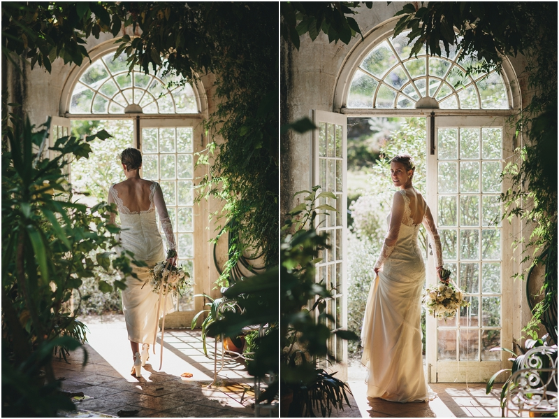 Bride wearing Belle and Bunty wedding dress in the orangery at Mapperton