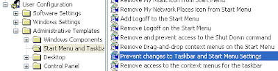 mencegah membuka properties start menu dan taskbar
