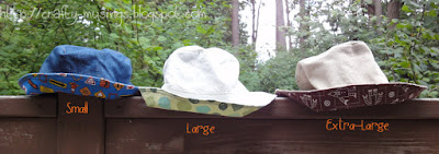 Reversible bucket hats, small, large, x-large