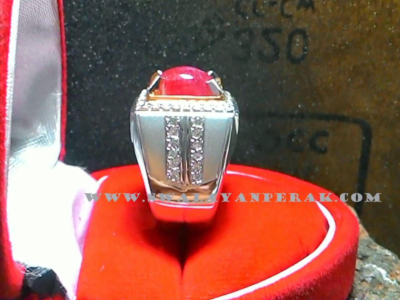 Contoh model cincin akik warna red silver unik