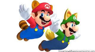 Mario y luigi volando con la cola de zorro