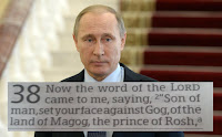 ionsVladimir Putin answering journalists quest after downing of Russian jet by Turkey with photo of Ezekiel 38:1 across photo