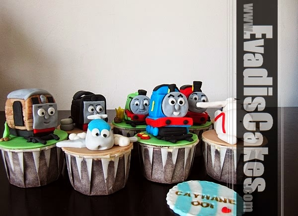 Picture of Thomas The Train on cupcakes