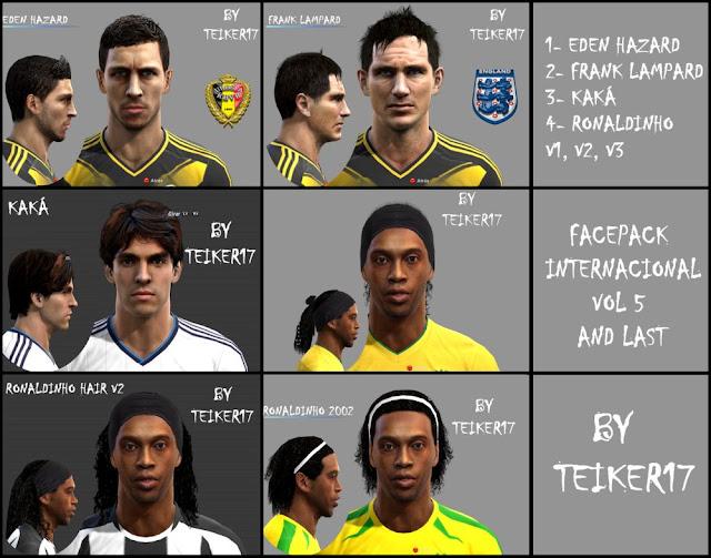 Face de Eden Hazard, Frank Lampard, Kaká, Ronaldinho Gaúcho- PES 2013