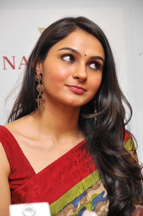 andrea jeremiah spicy in saree cute stills