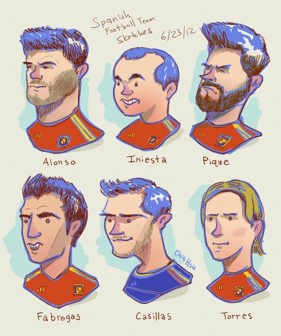 alonso iniesta pique fabregas casillas torres spanish soccer illustration chris hsu