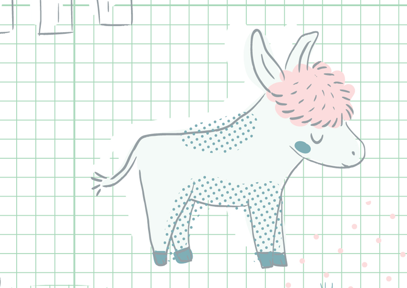 granja, farm, animals, illustration, ilustración, burro, burrito,