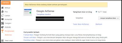 menu google adsense telah selesai di buat
