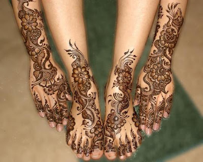 Mehndi Patterns For Legs : Simple beautiful paisley leafs mehandi design for hands legs