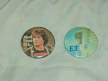 "Mork & Mindy (1978) & E.T. (1982) original vintage 2 1/4"" buttons $12"