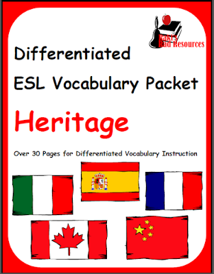 Free differentiated esl vocabulary packet about heritage. Download from Raki's Rad Resources.
