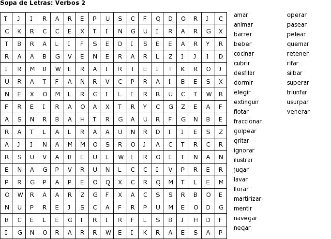 Sopa de letras de verbos en inglés - Imagui