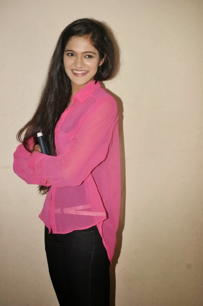 Simran Choudhary in Black Jeans transparent Pink Shirt at Hum Tum Movie Teaser Launch
