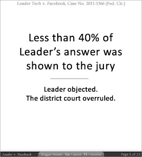 Less than 40% of Leader's answer was shown to the jury. Leader objected. The district court overruled