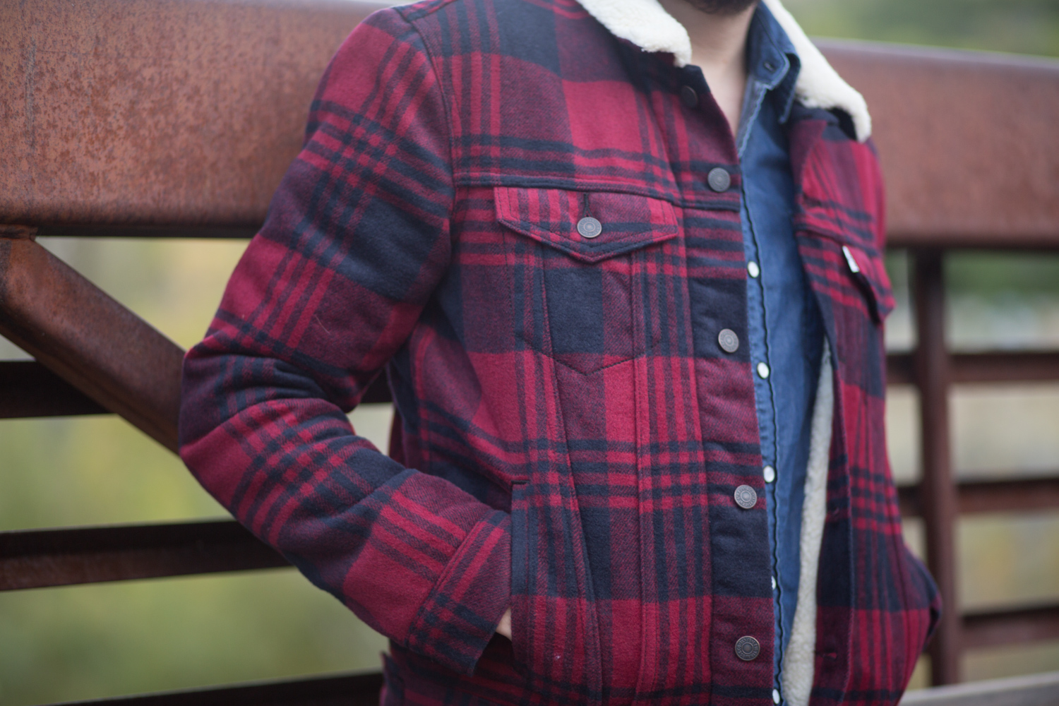 Levis THE SHERPA TRUCKER JACKET in red plaid review