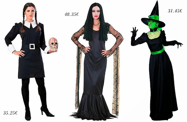 Disfraces de Miércoles Adams, Morticia y la bruja malvada del Oeste