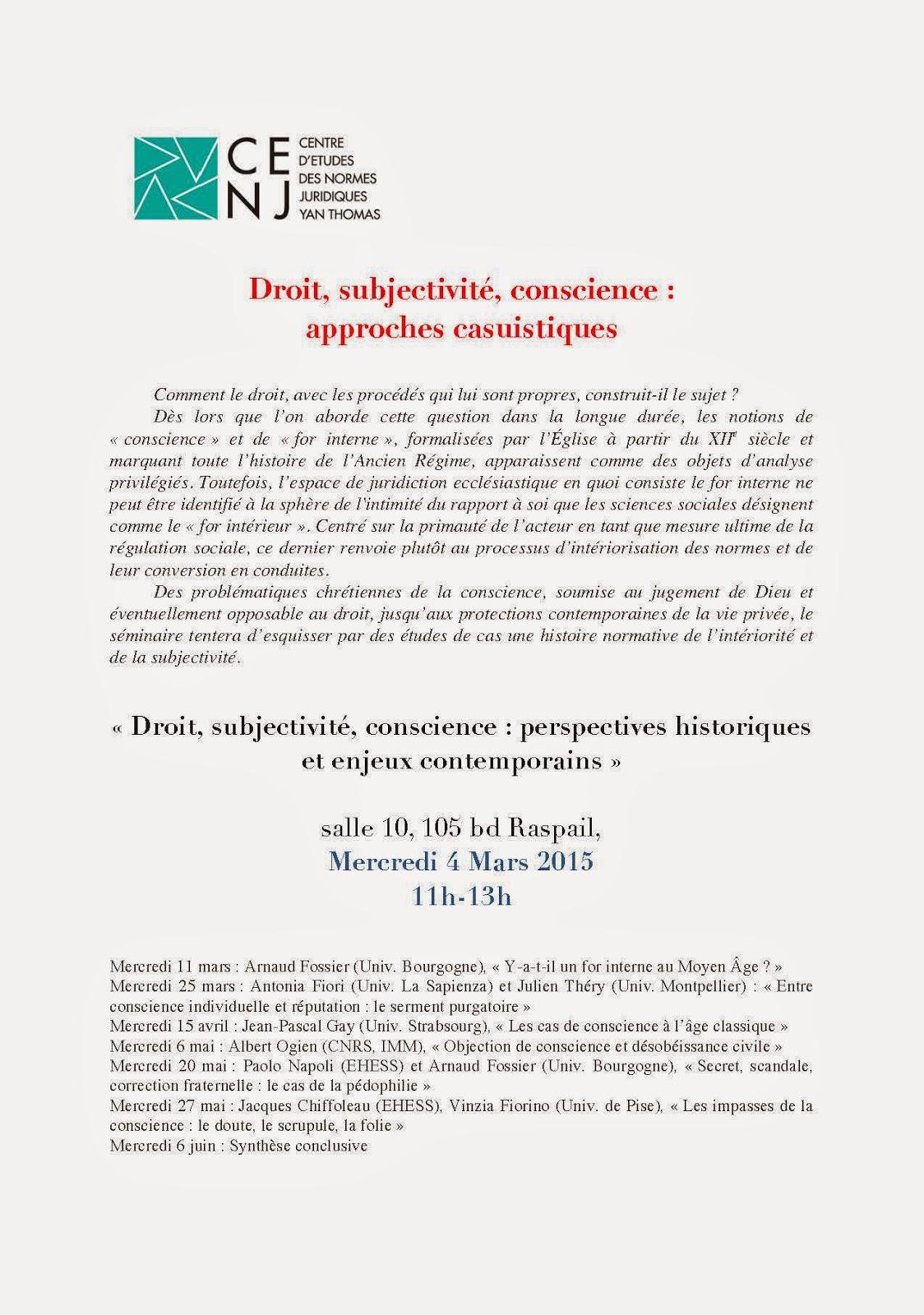 """EHESS, CENJ – Y. Thomas, sém. """"Droit, subjectivité, conscience: approches casuistiques"""", Paris, mars-juin 2015"""