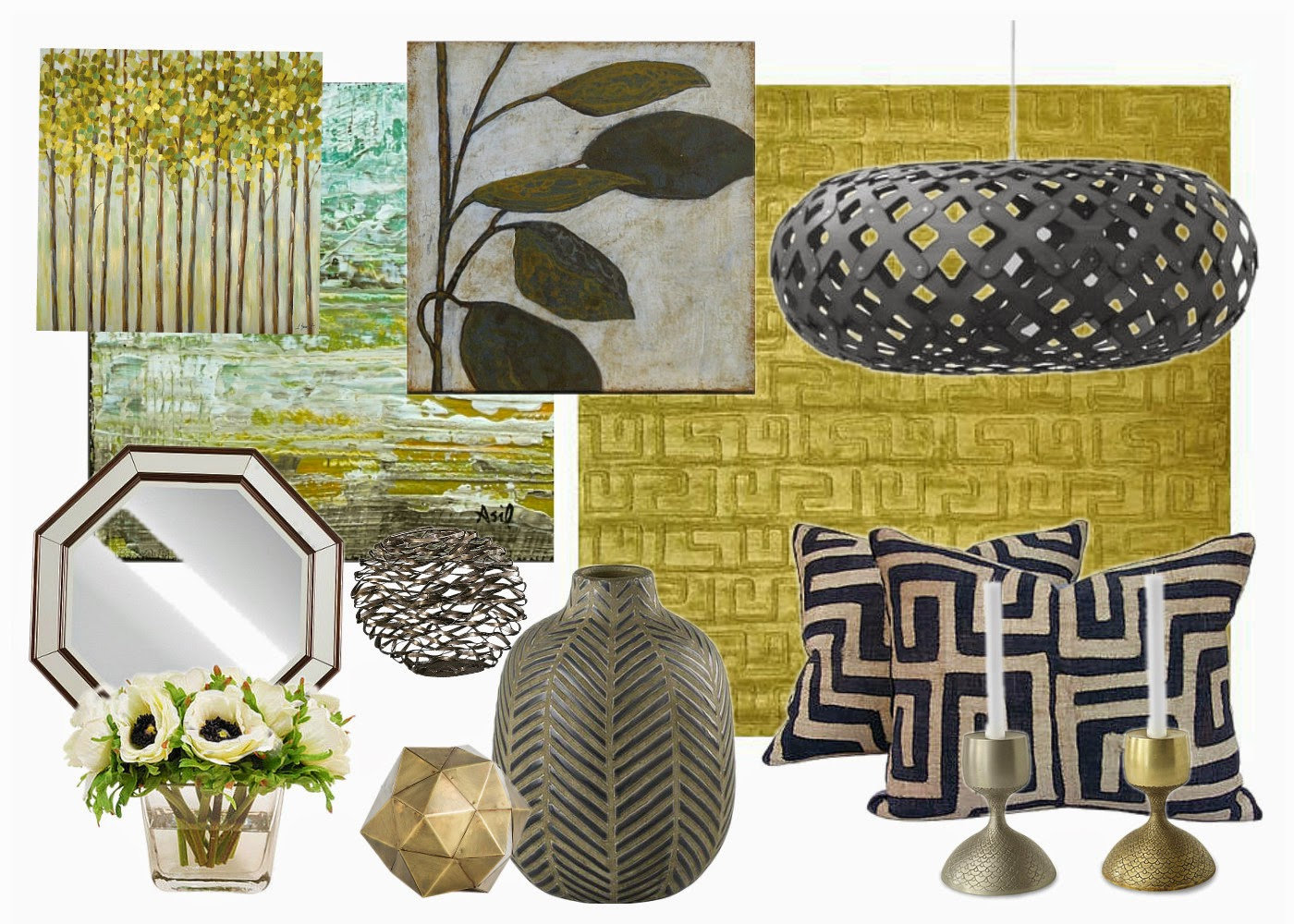 inspiration board, organic, geometric, spring green