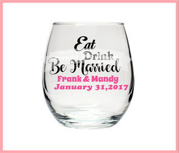 Eat, Drink Be Married Wine Glass