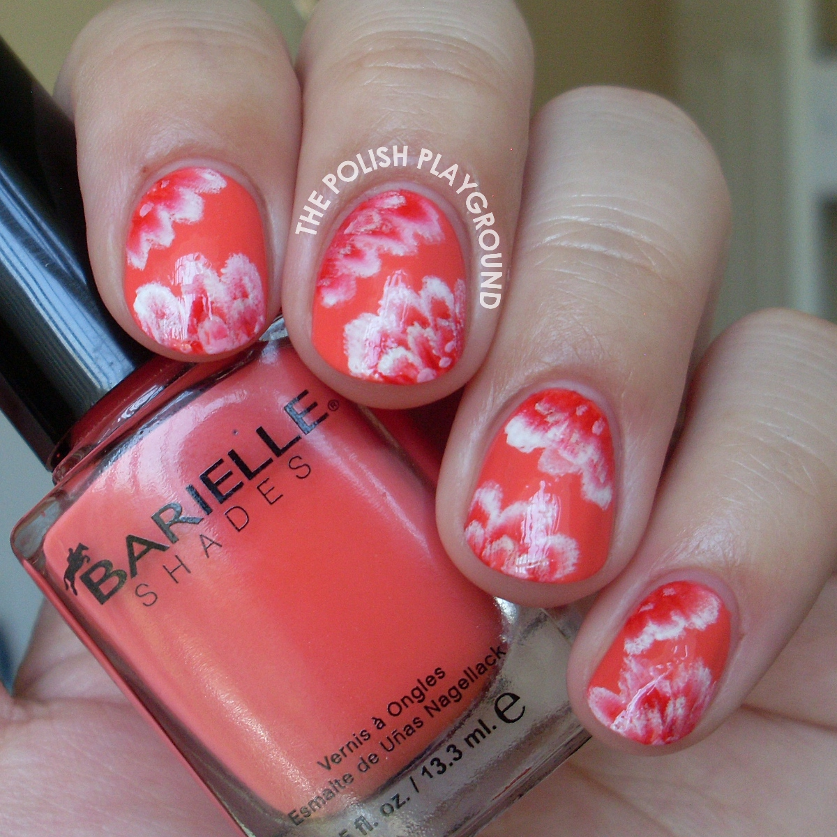 Red and White One-Stroke Flowers Nail Art