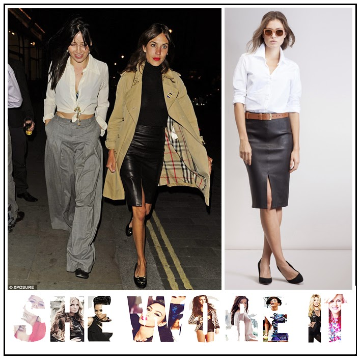 Alexa Chung, BAUJKEN, Black, Front Split, High Waisted, Leather, Leather Skirt, Pencil Skirt, Skirt,