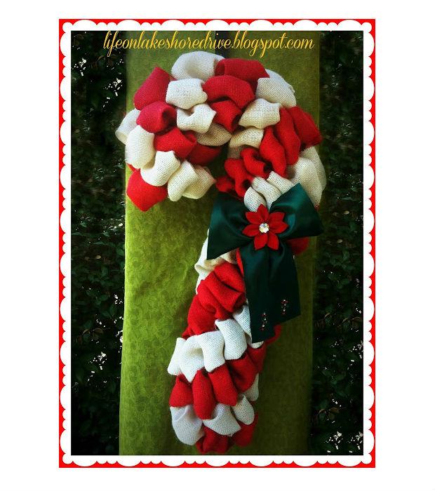 Bastón de caramelo de navidad hecho con arpillera ~ lodijoella