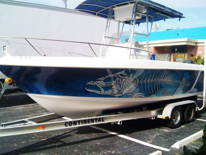 A1a sign wave a1a sign wave the bones boat wrap for Fishing boat wraps
