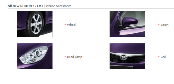 Accessories Exterior All New SIRION 1.3 AT