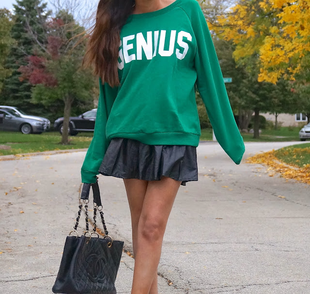 faux leather, forever 21 genius sweatshirt