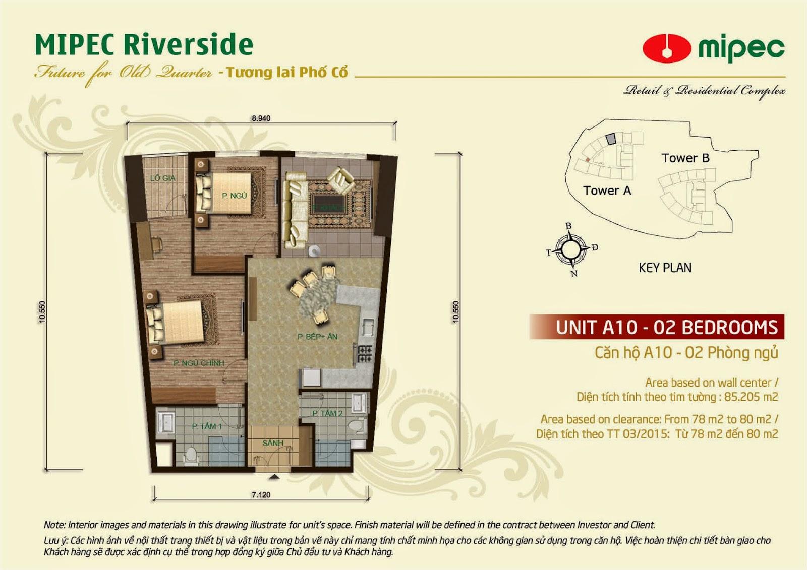 Căn A10 - 85m Mipec Riverside
