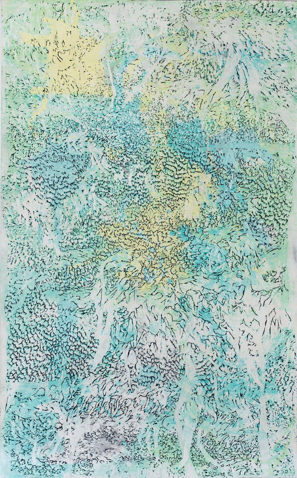 Přikrytá mlhou, 250 x 150, práce na papíře, 2016