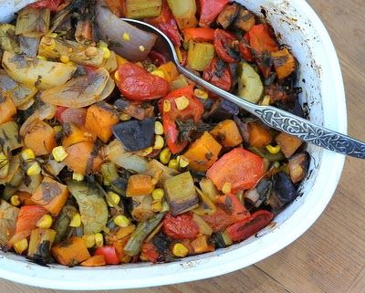 Tourlou Tourlou (Greek Baked Vegetables), a rainbow of vegetables slow-cooked in the oven. Great for parties, serve hot or at room temperature. Vegan.