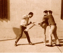 Bruce Lee kicking the groin