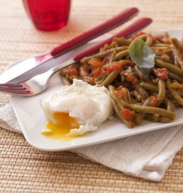 Feijão-verde com Ovos Escalfados