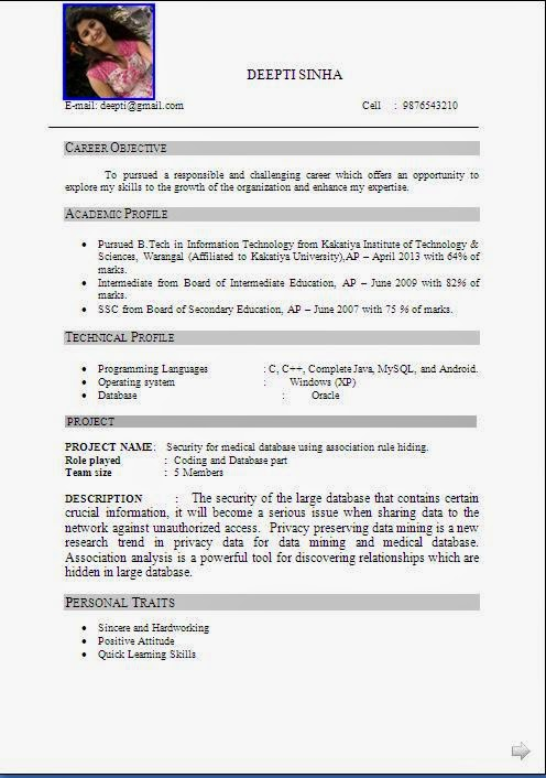 Resume Format For One Year Experience In Java Ebook Database