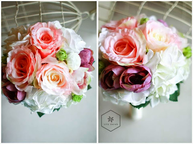 Pink rose and white hydrangea silk flower bouquet lily sarah